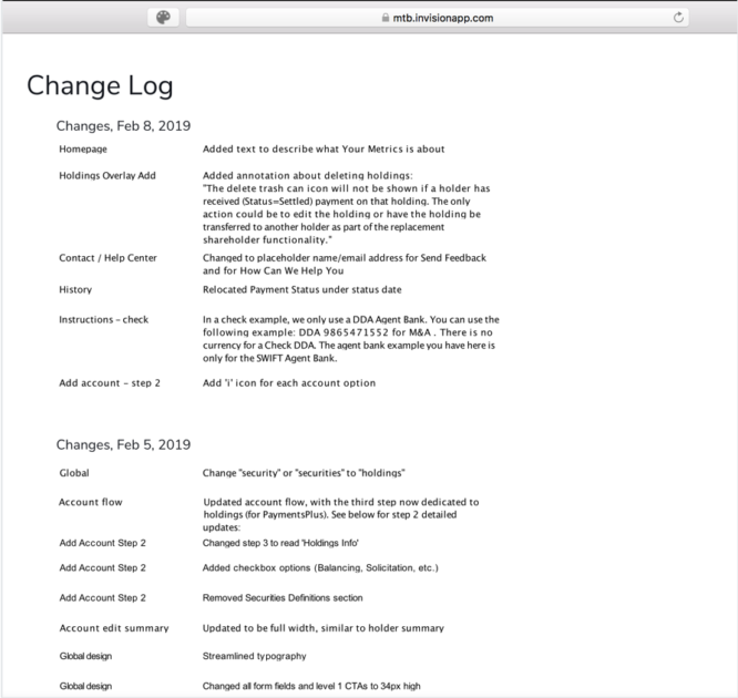 Example change log for wireframes, in an Invision link