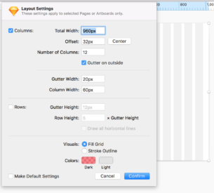 Sketch example of layout popup