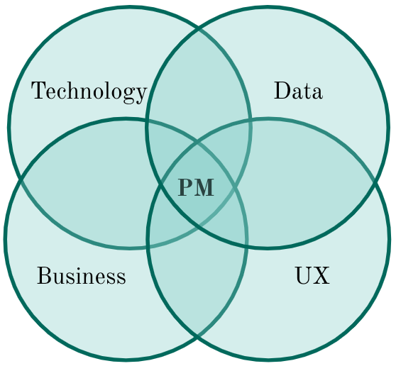 Showing PM at the intersection of technology, data, business, and UX